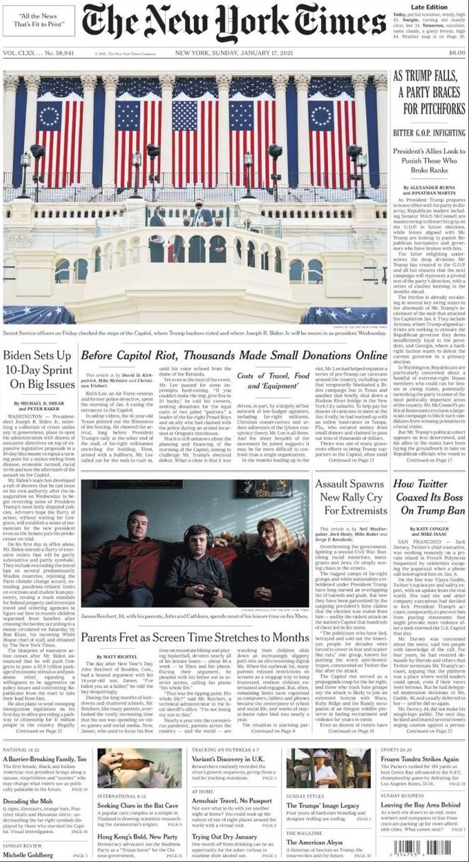 Prima Pagina The New York Times 17/01/2021